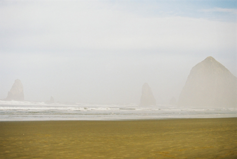 Haystack Rock in the mist